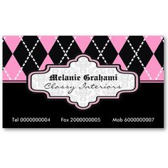 Black pink white argyle trendy business cards by justbusinesscards