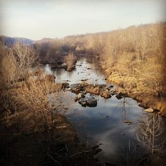 Aerial view of the Potomac River from Chain Bridge || McLean, VA // Photographed by Alexandra E Haniford