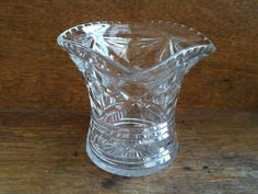 Vintage English medium size crystal glass vase pot circa 1960's Purchase in store here http://www.europeanvintageemporium.com/product/vintage-english-medium-size-crystal-glass-vase-pot-circa-1960s/