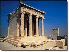 1)Nome/titolo= Tempio di Atena Nike; 2)Autore=Callicrate (architetto); 3)Data/periodo= 425 a.C; 4)Materiale/tecnica= tempietto anfipristilo tetrastilo di ordine ionico, nei fregi vi sono bassorilievi raffiguranti scene di guerra (probabilmente la battaglia di Maratona); 5)Luogo di conservazione= Atene, Acropoli (sul lato ovest, vicino ai propilei)