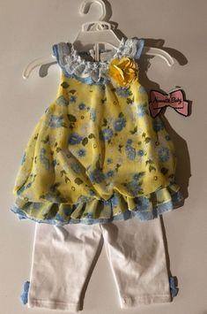 NWT Nannette Girls Flower Ruffle Jean Overall Jumper Dress /& Shirt Outfit Set