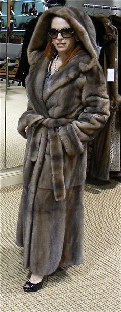 hooded mink fur coat
