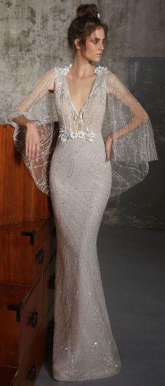 Flutter sleeves heavy embellishment fit and flare wedding dress,Boho wedding dress : Lior Charchy Fall 2018 Wedding #weddingdress #weddinggown #bridalgown #weddinggowns
