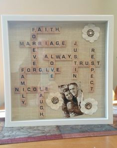 Scrabble wedding gift, in a shadow box. Scrabble wedding gift, in a shadow box. Craft Gifts, Diy Gifts, Scrabble Wedding, Cadre Diy, Scrabble Tile Crafts, Scrabble Letters, Diy Shadow Box, Shadow Box Wedding, Shadow Box Memory