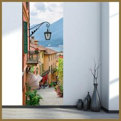 Italy Lake Como Town Street landscape 3d wall stickers for smooth door styling vinyl wallpaper home decoration scenery murals