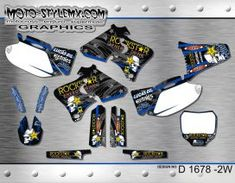 Moto-StyleMX graphics kit as shown. Yamaha Yzf, Custom Design, Decals, Graphics, Kit, Tags, Graphic Design, Sticker, Decal