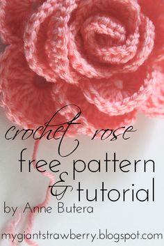 My Crochet Rose Motif By Anne Butera - Free Crochet Pattern - (mygiantstrawberry.blogspot)