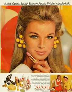 1968 vintage cosmetics Ad for AVON, lovely '60s' Blonde Model 102313