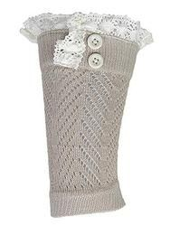 Crochet and Lace Button Boot Cuff- Tan www.mycrickets.com