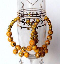 Yellow bauble earrings statement earrings hoops by NezDesigns, $10.00