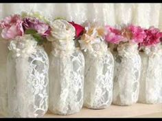 PinKyJubb lace and burlap mason jar vases tea candles