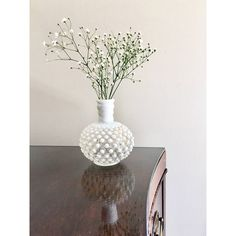 Opalescent Hobnail Bud Vase Vintage Clear White Milk Glass Antique... ($20) ❤ liked on Polyvore featuring home, home decor, vases, milk glass vases, white vase, white vessel, milk glass flower vase and glass vase