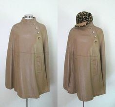 Mod Leather Cape Coat Swing Style Taupe Color by rileybellavintage, $110.00