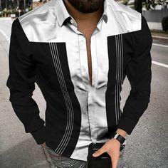 New Arrivals Fashion Shirts, Mens Fashion, Shirt Sleeves, Long Sleeve Shirts, Contrast, Casual, Color, Moda Masculina, Man Fashion