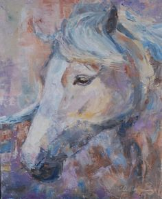 Abstract Horse Painting, Abstract pony painting Horse by Carol DeMumbrum