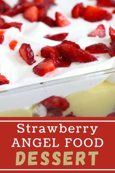Strawberry Angel Food Dessert comes together quickly and is filled with a perfect combination of flavors. A great choice for your next party! #angelfoodcake #trifle Angel Food Trifle, Angel Food Cake, Fun Desserts, Dessert Recipes, Party Recipes, Incredible Recipes, Barbecue Recipes, Pinterest Recipes, Air Fryer Recipes