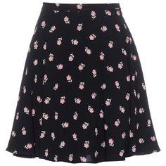 Miu Miu Printed Crêpe Skirt (€600) ❤ liked on Polyvore featuring skirts, black, crepe skirt, miu miu skirt and miu miu