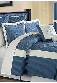 Home Accents® Jameson Bedding Collection Neck Roll Pillow, Bed In A Bag, Blue Rooms, King Comforter, Stripes Design, Bed Covers, Bedding Collections, Home Accents, Comforters