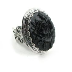 Gothic Cameo Rose Photo Locket Mourning Ring with Sterling Silver... ($35) ❤ liked on Polyvore featuring jewelry, rings, black, band rings, vintage filigree ring, cameo ring, cameo jewelry and gothic jewelry