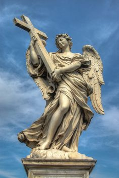 "The Ponte Sant'Angelo is a bridge spanning the Tiber, in front of Castle Sant'Angelo in Rome. The bridge contains ten angels sculpted by Bernini; the ""Angel with the Cross"" is pictured above."
