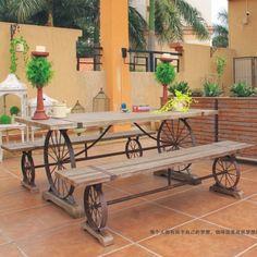 Nordic American retro muebles, hierro forjado recreación exterior personalizada mesa de centro de madera diseñador silla de escritorio(China (Mainland))