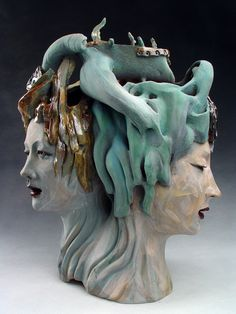 Shin-Yeon Jeon, Artist, Two Heads, sculpture of dual elements, #form
