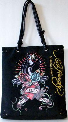 923410531cf4 Details about Ed Hardy Christian Audigier Large Tote Black Panther Graphics Handbag  Shoulder