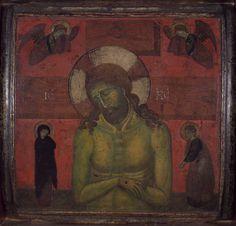 Pittore veneziano dell'inizio del XIV secolo - Cristo in Pietà fra la Vergine e san Giovanni evangelista dolenti e due angeli, 1300-1310 circa, tempera su tavola - ©Torcello, Museo provinciale