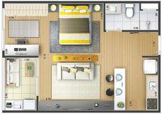 Small Apartment Design, Studio Apartment Decorating, Apartment Layout, Small Apartments, Studio Decor, Deco Studio, Layouts Casa, House Layouts, Studio Floor Plans