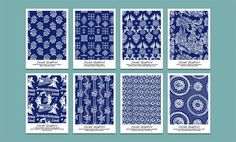 Pohľadnicový set - Modrotlač