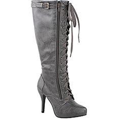 Modesta by Beston Women's 'Paris-02' Grey Knee-high Boots