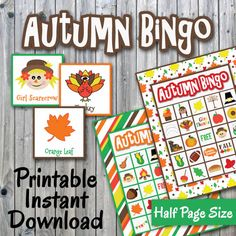 Autumn/Thanksgiving Bingo Game and Memory Cards - Printable - Up to 30 players