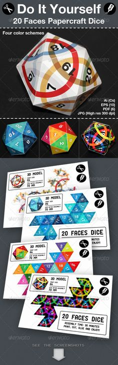 Twenty Faces Papercraft Dice - #Packaging Print #Templates Download here: https://graphicriver.net/item/twenty-faces-papercraft-dice/4118091?ref=alena994