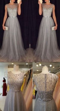 Fashion Prom Dresses Beaded Top With Tulle dress ea61699ae9dd