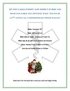 Budd Lake First Aid & Rescue Squad Annual Christmas Tree Sale - http://www.mypaperonline.com/budd-lake-first-aid-rescue-squad-annual-christmas-tree-sale.html
