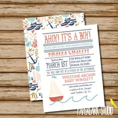 Ahoy+It's+a+Boy+Baby+Shower+Invitation+///+by+PaperLarkStudio,+$24.75