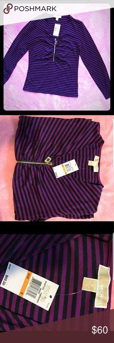 ❤I TRADE❤NWT MK Striped Longsleeve Tee Brand new super cute MK longsleeve striped tee. Cute zipper design on the front. Michael Kors Tops Tees - Long Sleeve