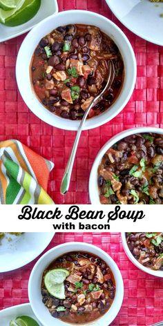 ... in a bowl. Black Bean Soup with bacon. Yum! // evolvingmotherhood.com