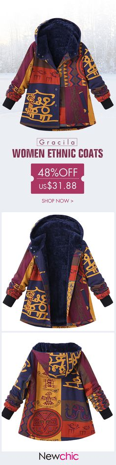[Newchic Online Shopping] 49%OFF Gracila Ethnic Women Coats