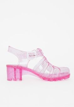 Heeled Jelly Shoes Glitter Pink