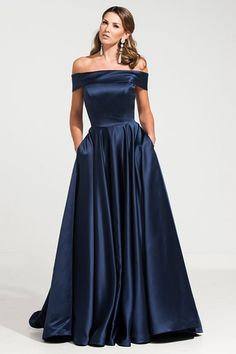 0ff76a2567 Satin A line Simple and Elegant off the shoulder Satin Evening Dress. Military  Ball ...