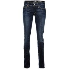 Seven For All Mankind Straight Leg New York Dark Blue Straight Leg Jeans $250 found on Polyvore