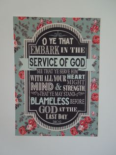 """2015 LDS YW/YM theme! """"O ye that embark in the service of God."""""""