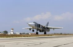 A Russian SU-24M fighter jet armed with laser-guided bombs takes off from a runaway at Hmeimim airbase in Syria. Russian jets have launched air strikes against targets Moscow has identified as bases of the Islamic State, but which President Bashar al-Assad's opponents say disproportionately hit foreign-backed insurgents