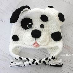 Repeat Crafter Me: Crocheted Free Dalmation dog hat pattern