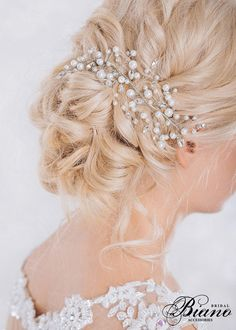 Bridal Headpiece Pearl and Rhinestone Haipiece Wedding by Bianoco