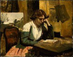 Jeune fille lisant  - Camille Corot - 1868