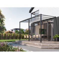 Wall Mounted Patio Cover 4.8m x 3m Ironsand