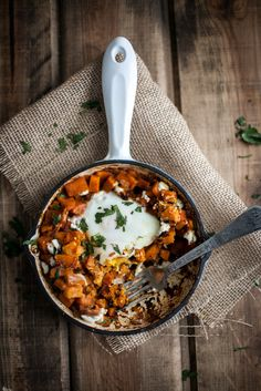 Spiced Sweet Potato and Goat Cheese Egg Skillet Recipe | Olive Oil, Onion, Smoked Paprika, Turmeric, Sea Salt, Sweet Potato, Eggs, Goat Cheese, Breakfast Skillet, Southern Breakfast