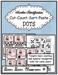 "This file contains the most basic Kindergarten math skill. Counting of course! Lots of ""cut and paste"" activity sheets. Counting, subitizing, numeral recognition, and number identification. $"